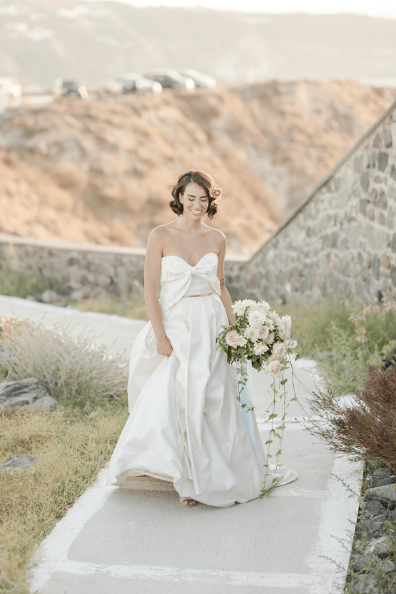 Pale Blue Greek Micro Wedding on the Cliffs of Santorini – Kimonas Photography 18