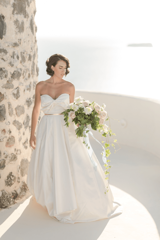 Pale Blue Greek Micro Wedding on the Cliffs of Santorini – Kimonas Photography 28