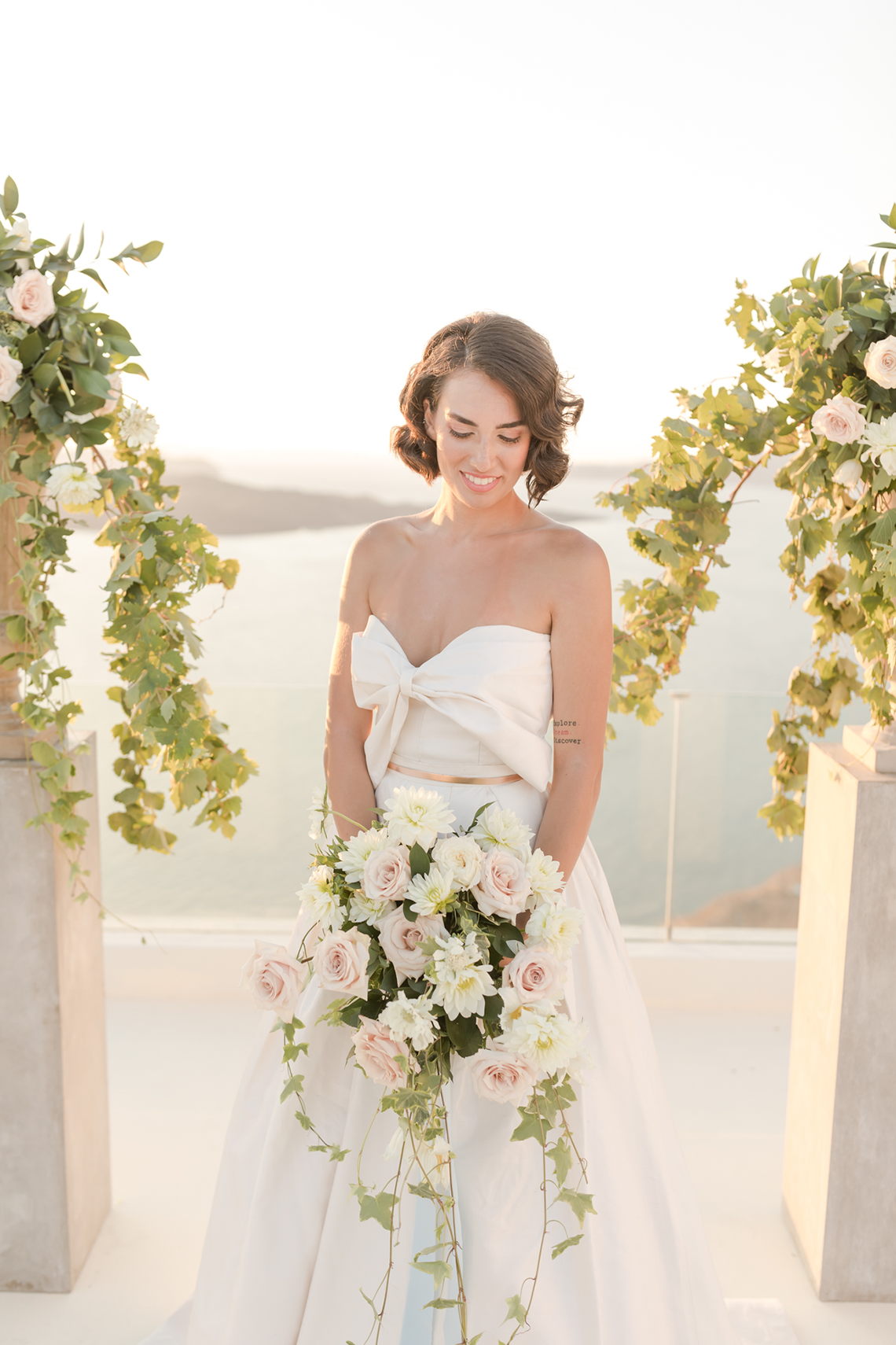 Pale Blue Greek Micro Wedding on the Cliffs of Santorini – Kimonas Photography 32