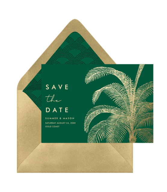 Tropical Palm Fronds – Greenvelope Digital Save The Date Wedding Invitations – Bridal Musings