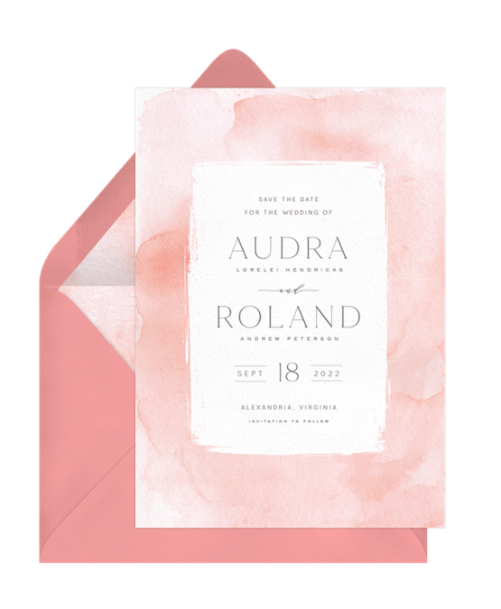 Watercolor Wash Save The Date – Greenvelope Digital Save The Date Wedding Invitations – Bridal Musings