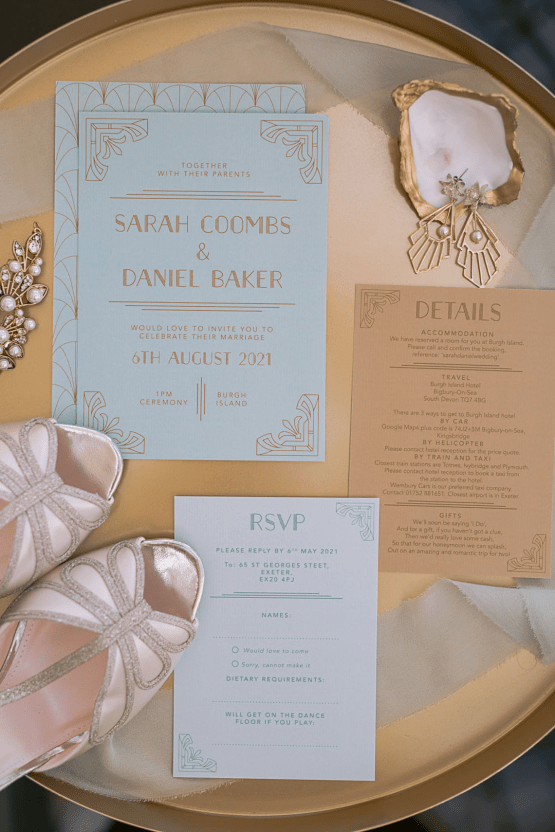 Modern Art Deco Wedding Inspiration at Burgh Island Hotel in Devon – Jennifer Jane Photography 14