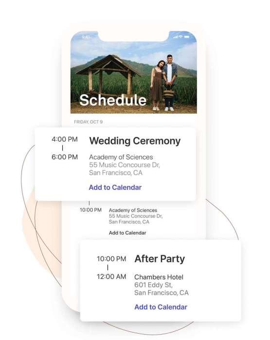 Our Favorite Free Wedding Website Builder and Registry – Joy – Bridal Musings – Wedding Schedule – Mobile view