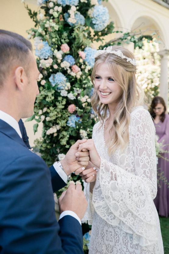 Romantic Something Blue Micro Wedding filled with Hydrangeas at Villa Ortensia in Lake Como – Alessandro Colle e Serena Rossi 37